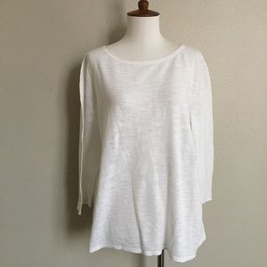 J.jill linen/cotton white gauze 3/4 sleeve tee top